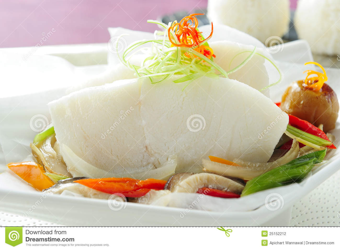Download Steamed fish chinese style stock photo. Image of food - 25152212