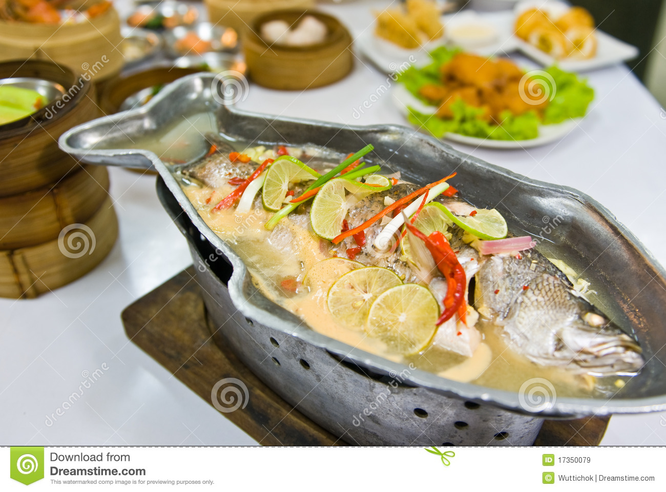 Steamed fish with lemon stock image image of east asian for How to steam fish