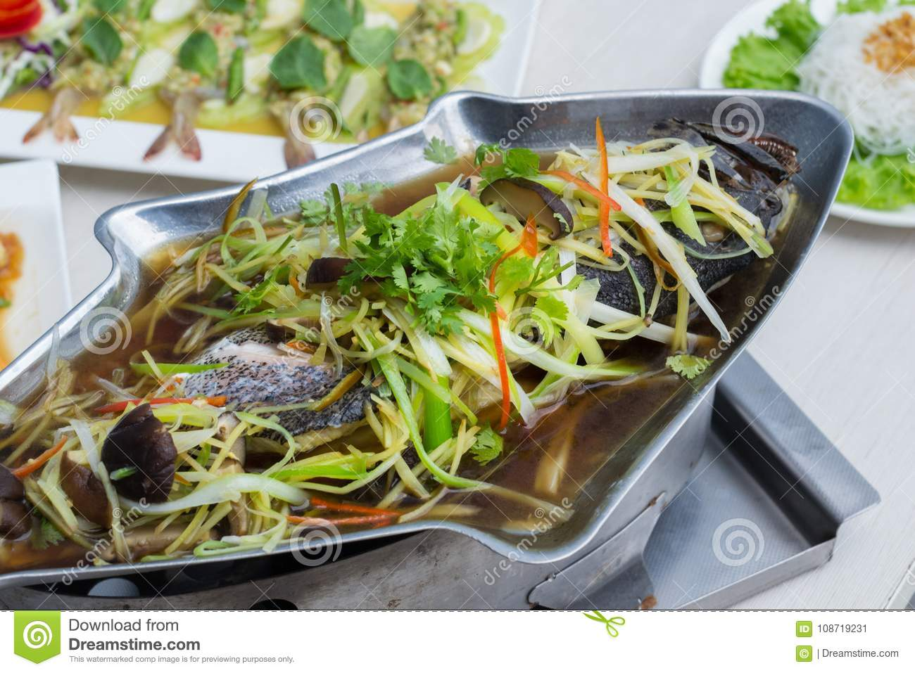 Steamed grouper with soy sauce