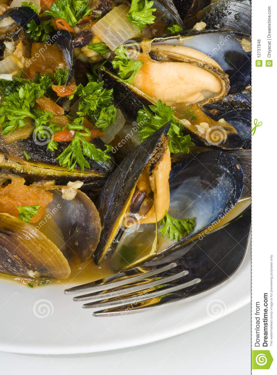 Steamed Mussels In Tomato And Garlic Broth Royalty Free Stock Image ...