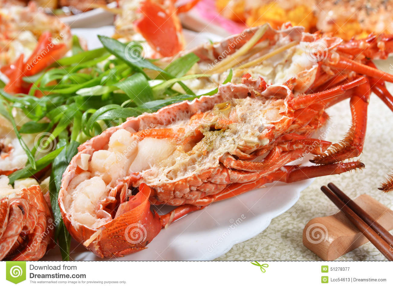 Steamed prawns stock photo image 51278377 - Delicious chinese cuisine ...