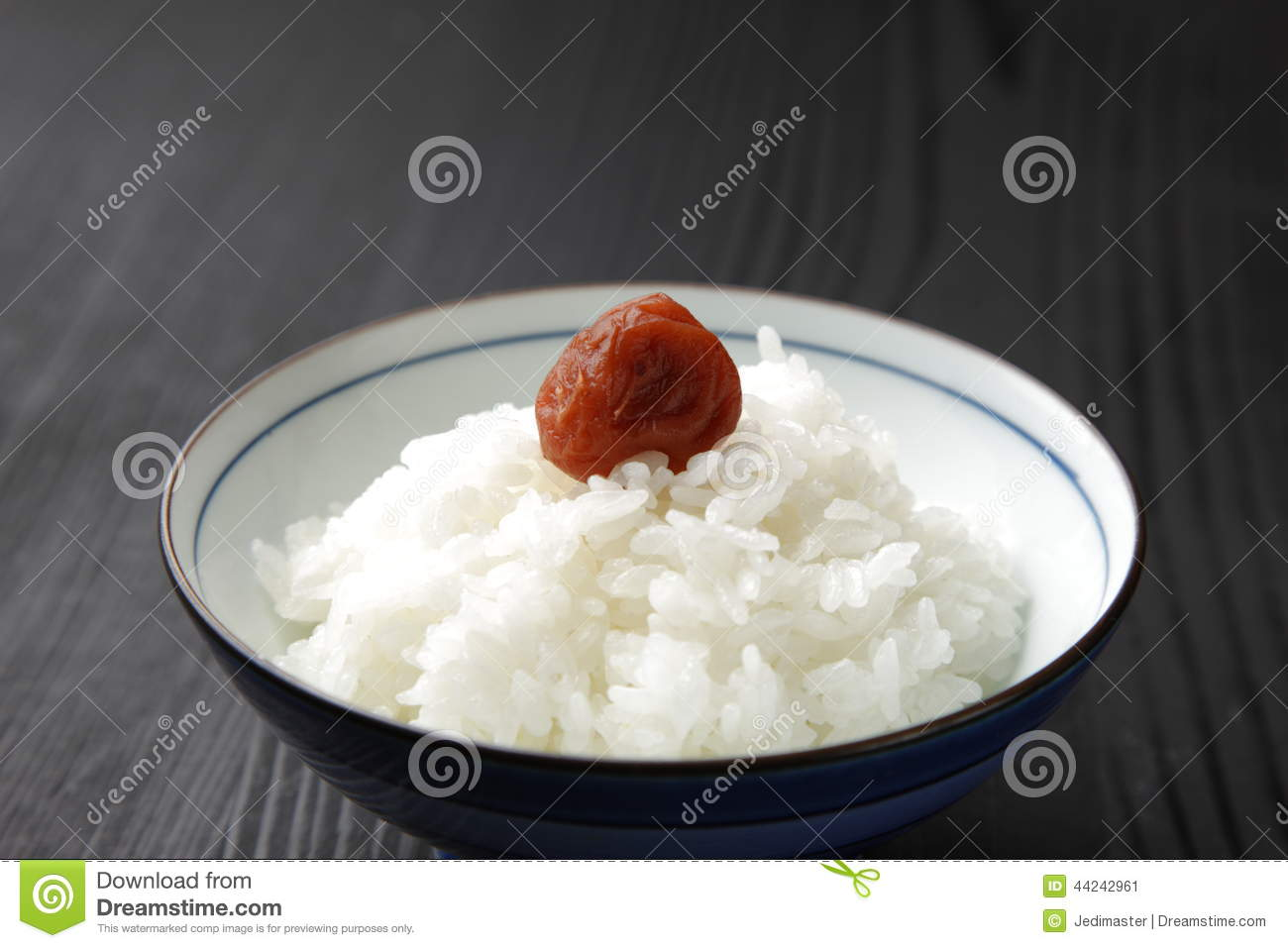 Steamed Rice With Japanese Pickled Plum Stock Image ...