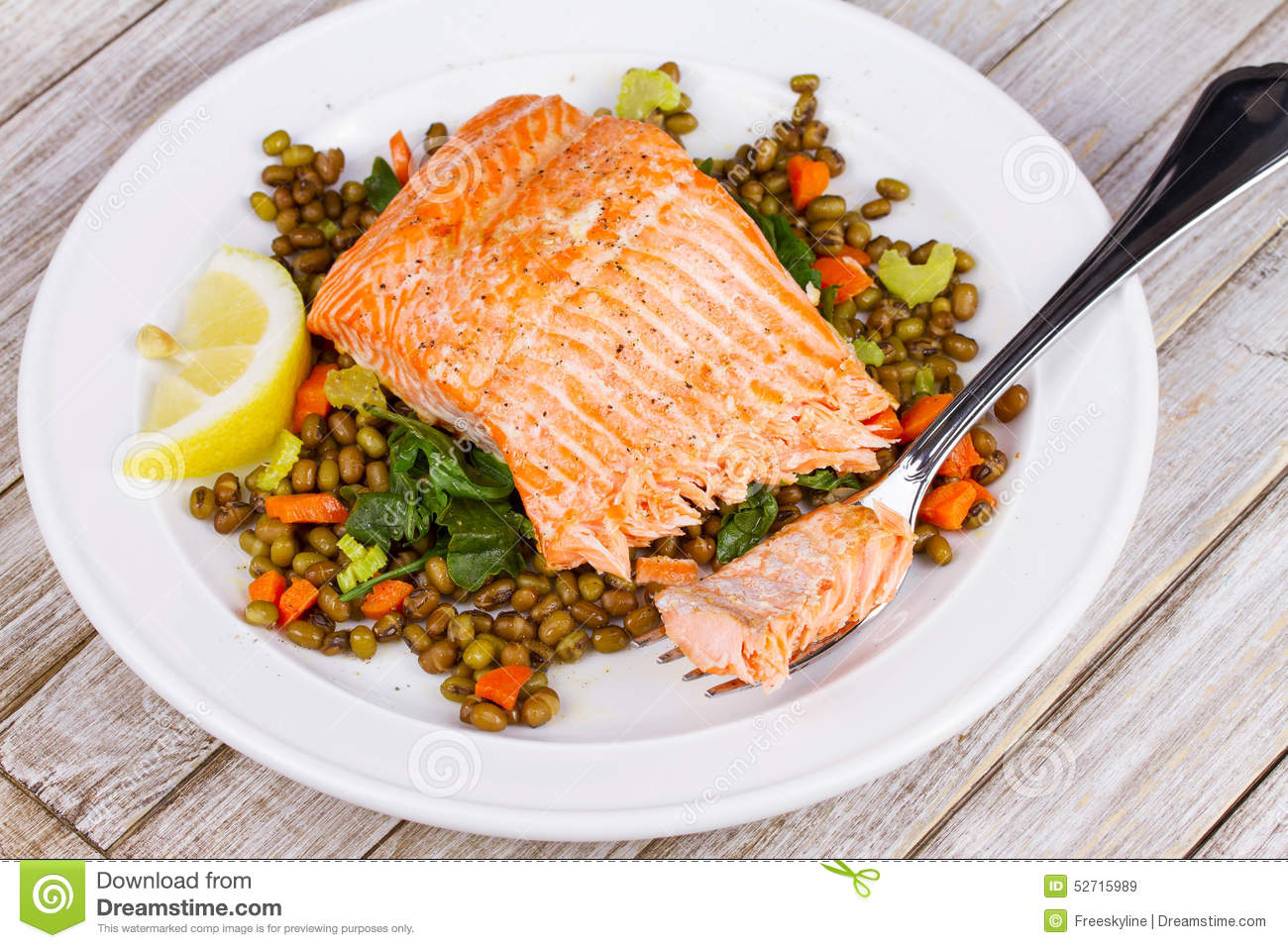 Steamed Salmon with Lentils and Arugula.