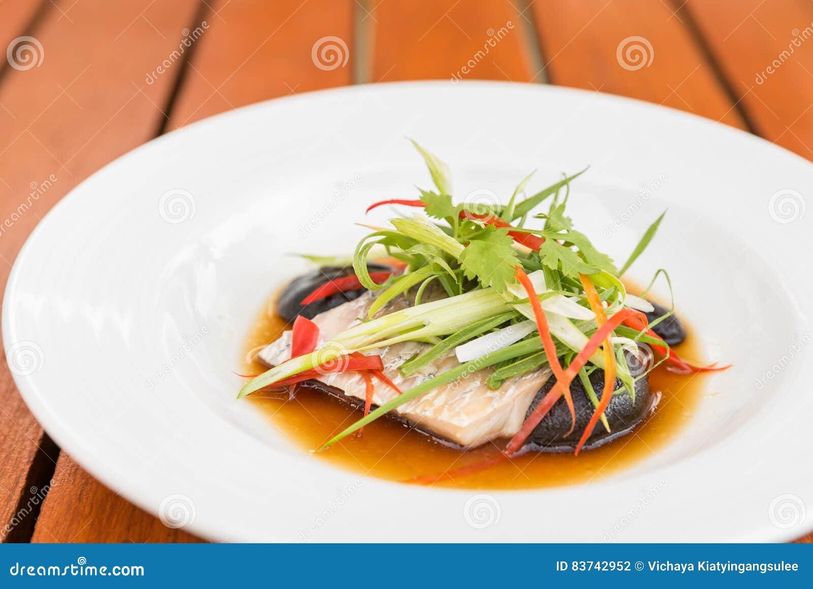 Steamed sea bass fillet