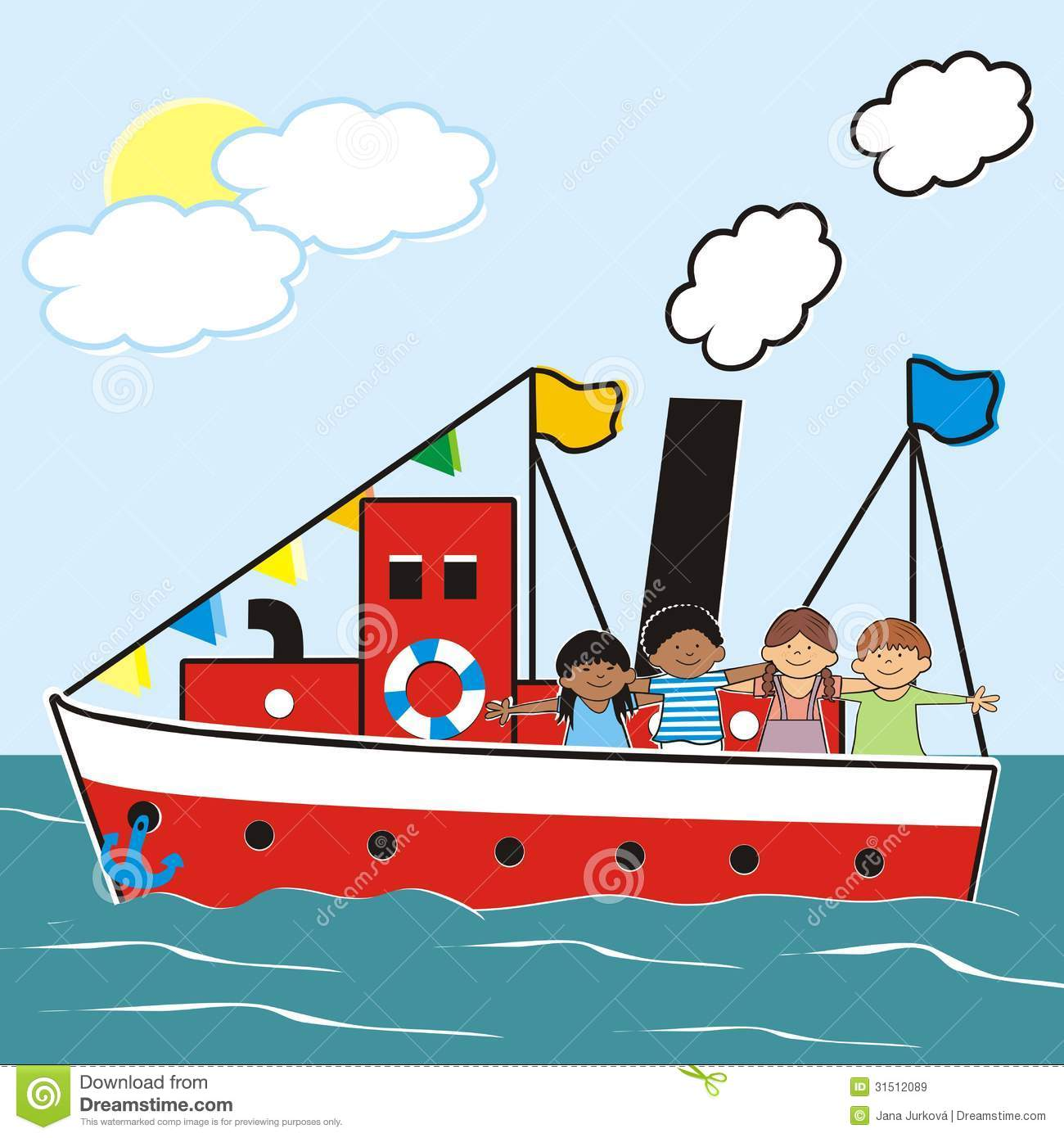 Steamer And Children Royalty Free Stock Images - Image: 31512089