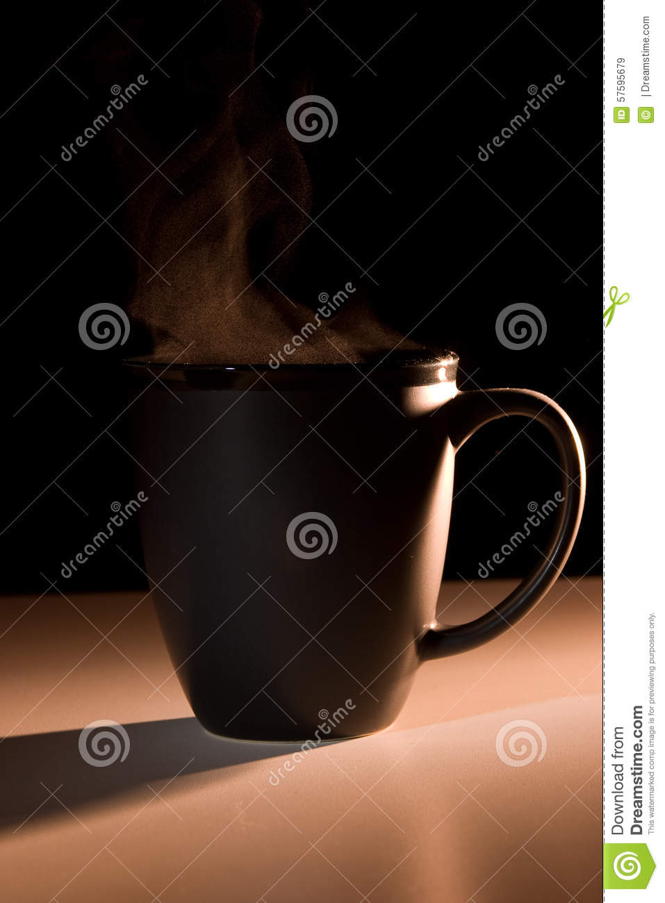 Download Steaming Black Bistro-style Mug Stock Image - Image of cocoa, warm: 57595679