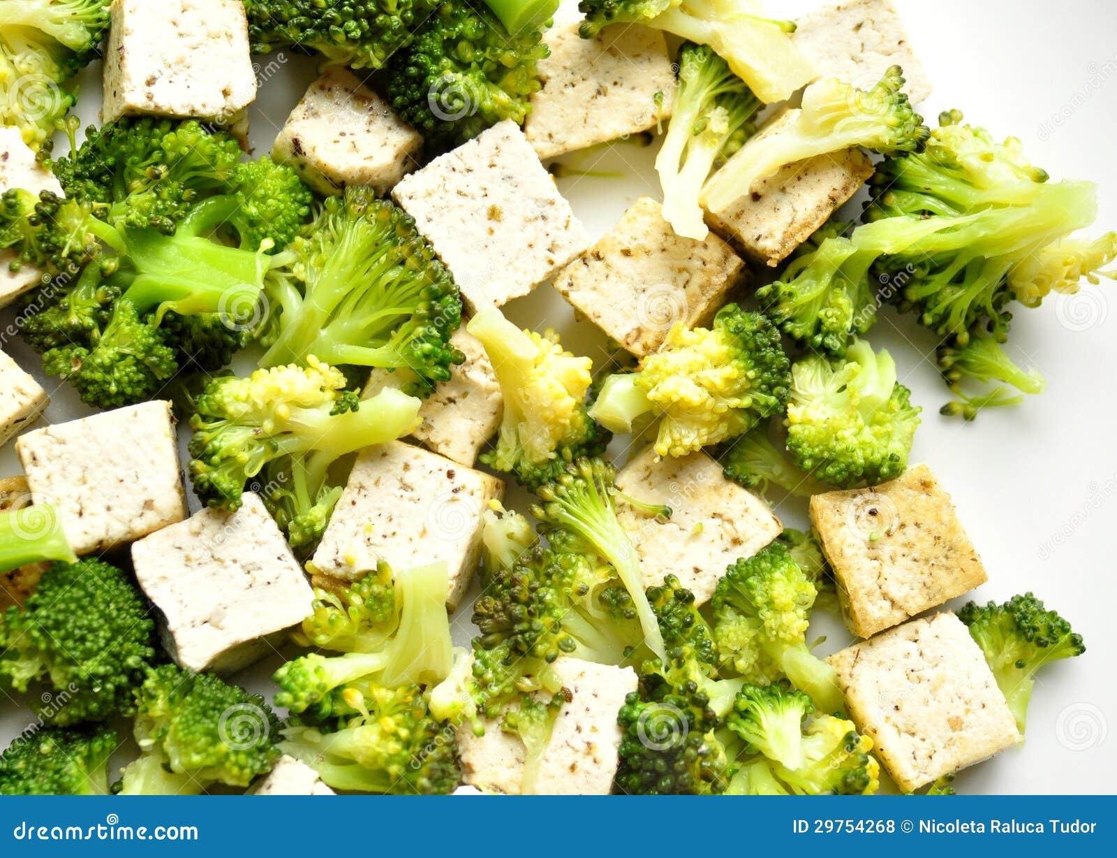 Vegan Food Steamed Broccoli And Tofu Dish Royalty Free