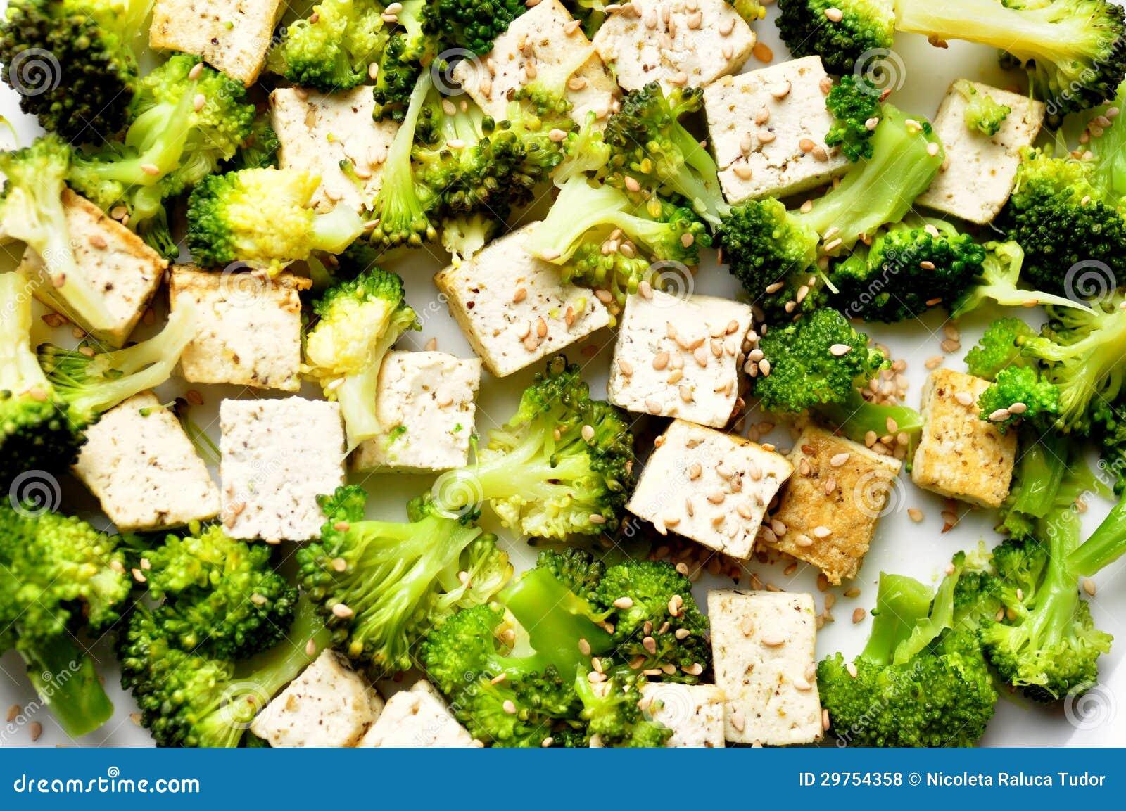 Vegan Food Steamed Broccoli And Tofu Dish Stock Photo