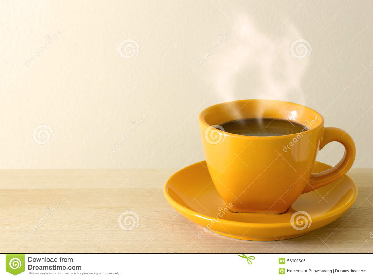 Steaming coffee cup on table stock photo image 56980506 steaming coffee cup on table geotapseo Gallery