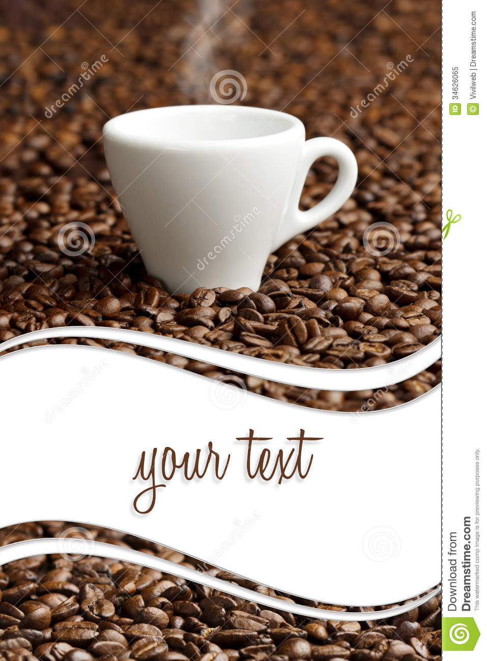 Steaming cup and coffee beans Coffee Beans And Cup Background