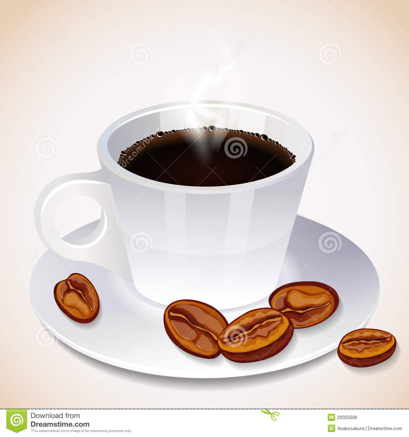 A Steaming Cup Of Coffee And Coffee Beans Royalty Free