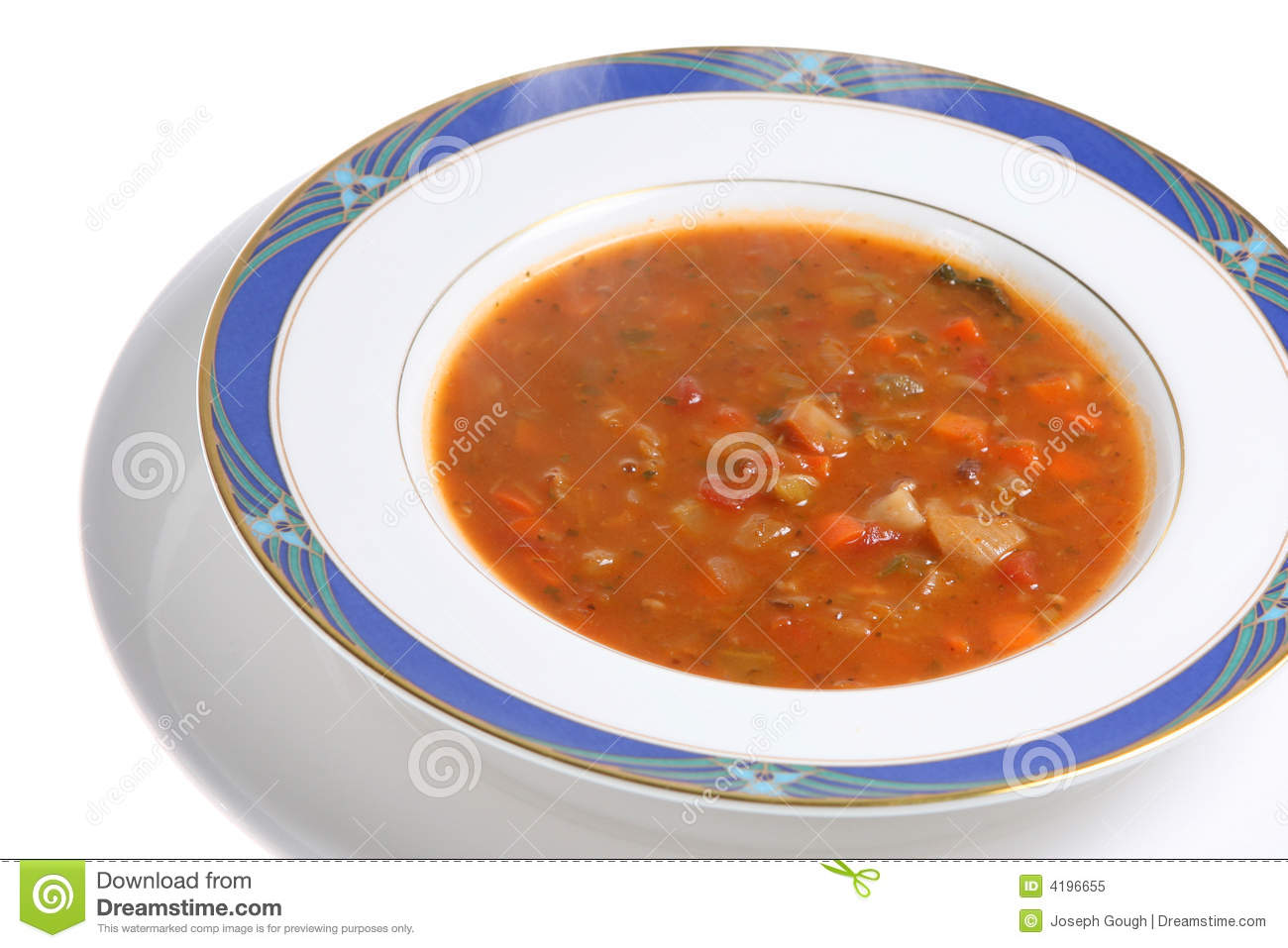 Steam From Soup ~ Steaming minestrone soup bowl stock image