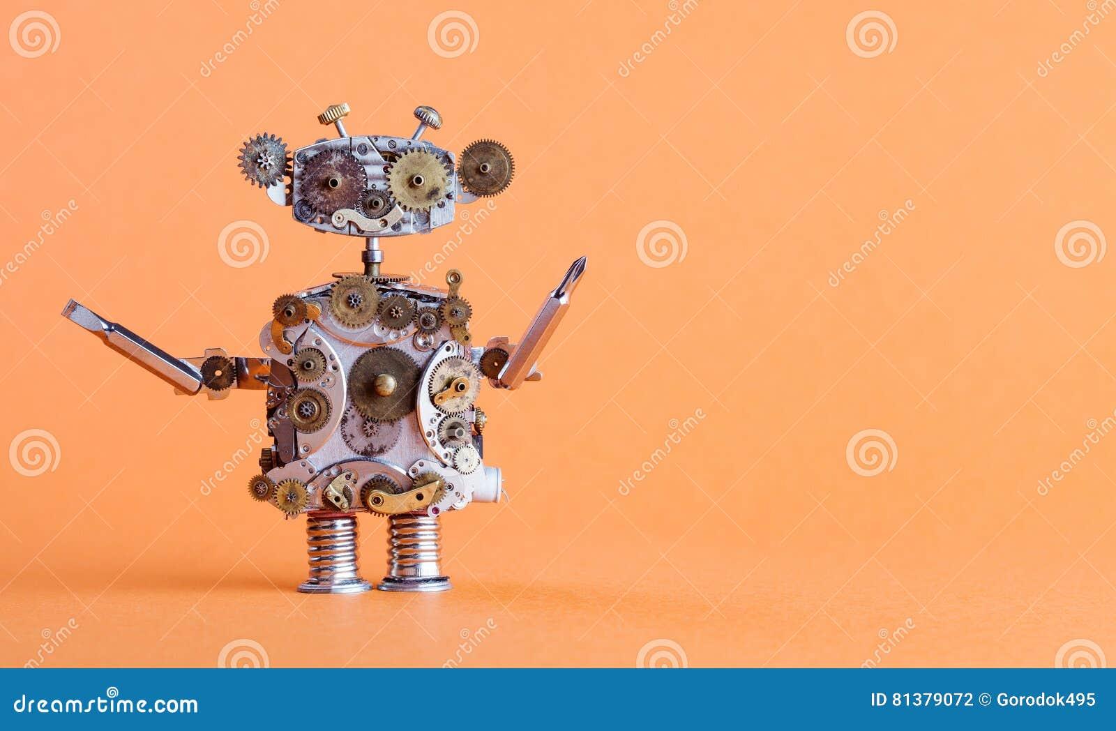 Steampunk样式有螺丝刀的机器人杂物工 滑稽的玩具机械字符,修理公司概念 年迈的齿轮,嵌齿轮