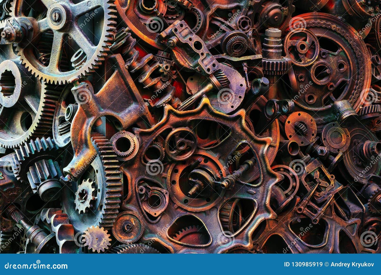 Steampunk背景、机器和机械部分、大齿轮和链子从机器和拖拉机