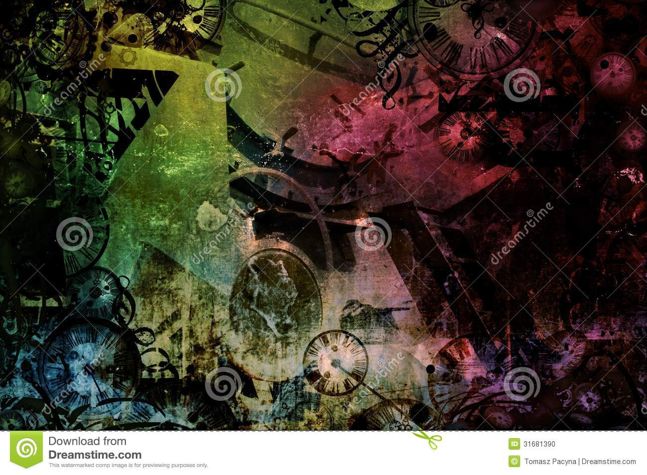 steampunk abstract colorful industrial machines background