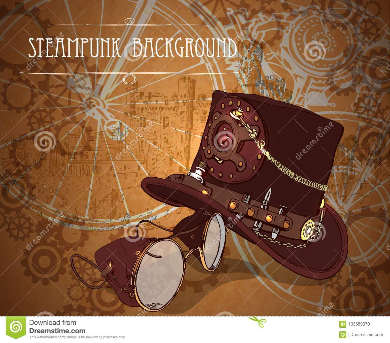 steampunk background with steampunk top hat and brass goggles stock