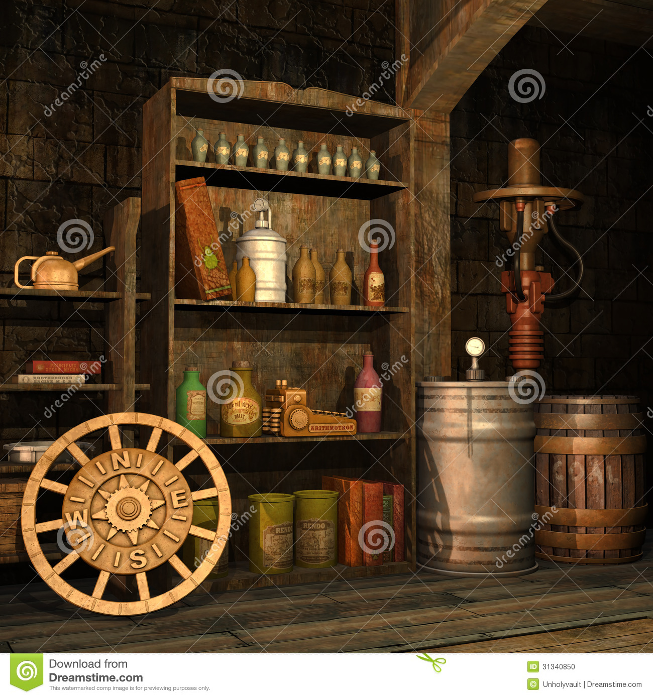 Steampunk basement stock photo image 31340850 for Old objects