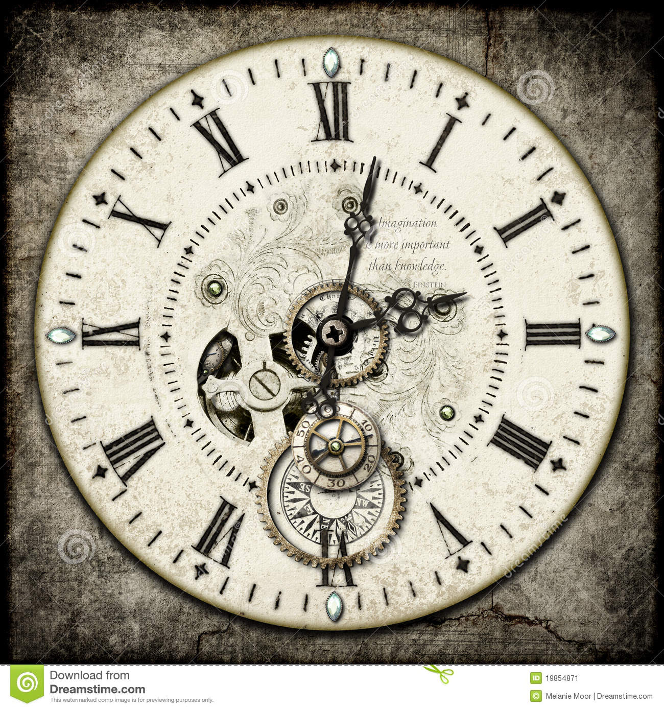Steampunk Clock Stock Image Image Of Numerals Compass