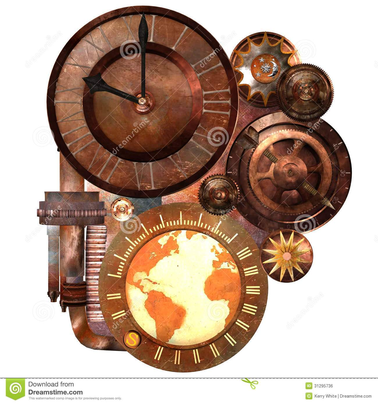 Unusual Clocks Steampunk Clock And Gears Stock Illustration Illustration