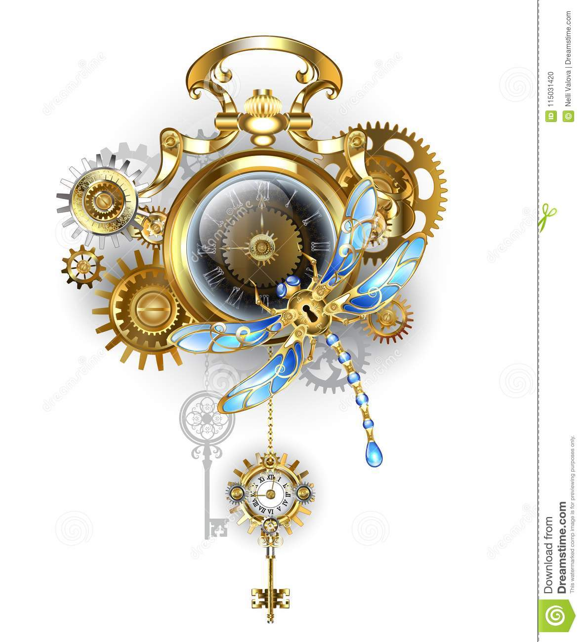 Steampunk Clock With Mechanical Dragonfly Stock Vector ...