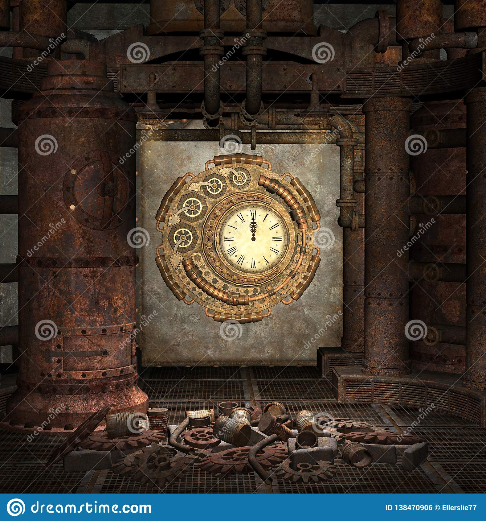 Steampunk clock old room with gears, cogs and rusty pipes