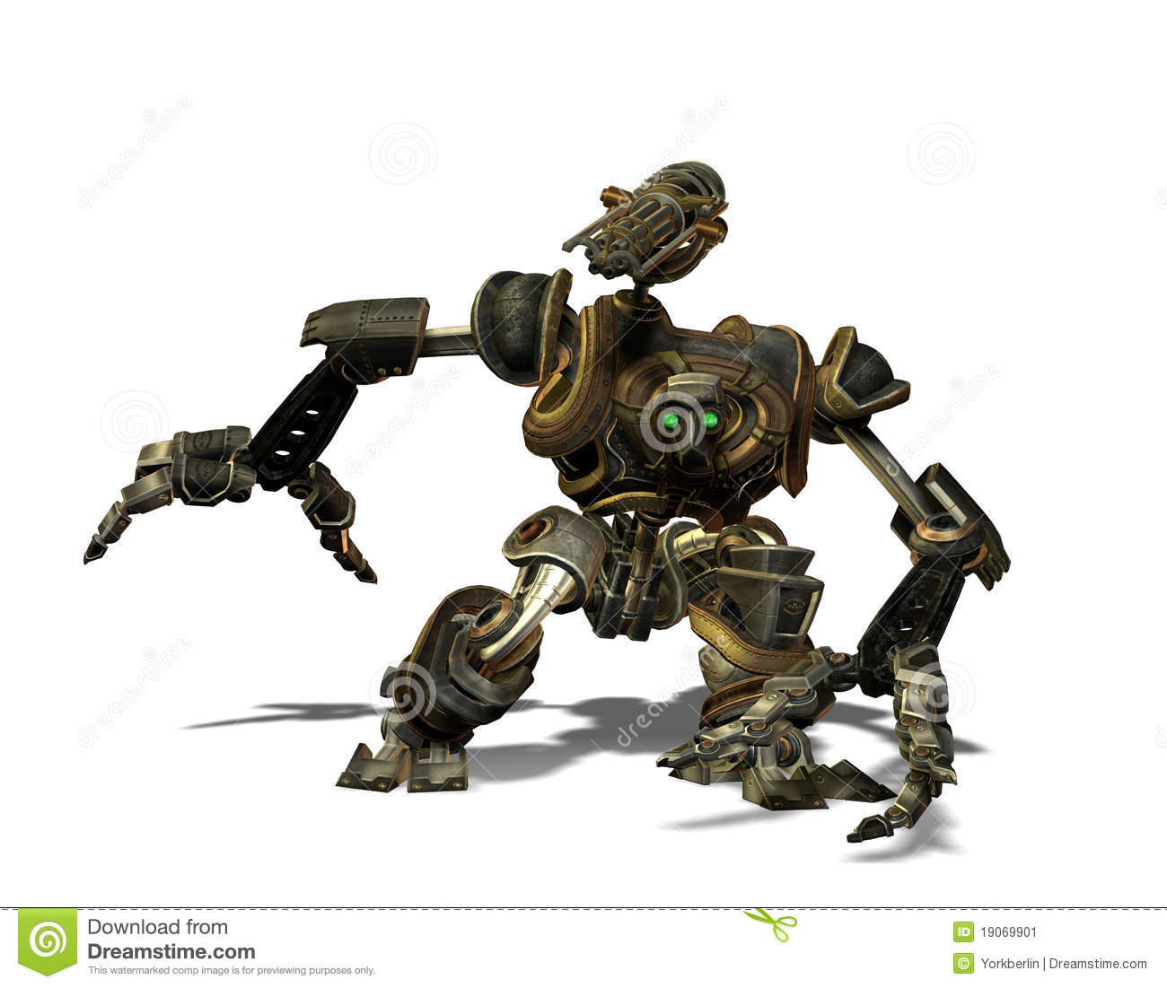 Steampunk Combat Robots From The Future Stock Image