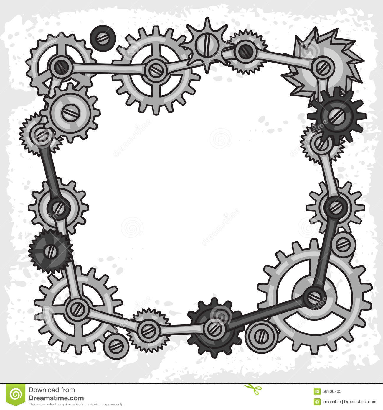 Steampunk Frame Collage Of Metal Gears In Doodle Stock ...