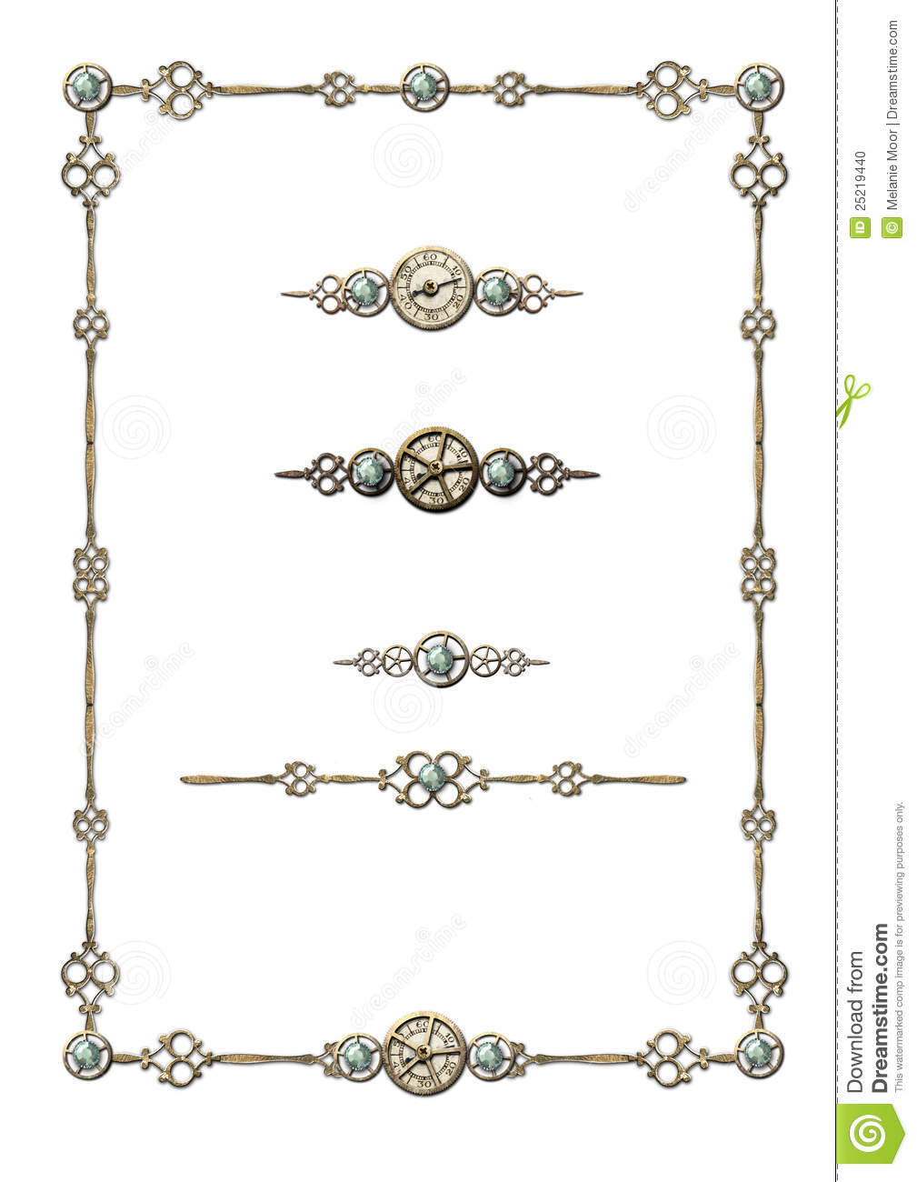 steampunk frame selection of ornaments