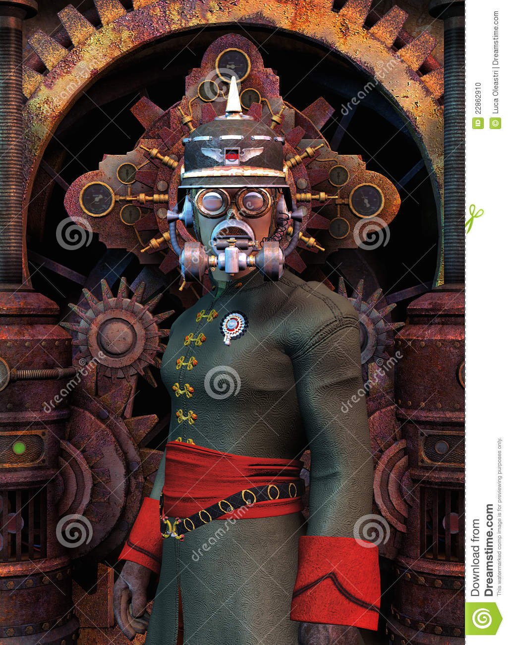 Download Steampunk general military stock illustration. Illustration of analogic - 22862910