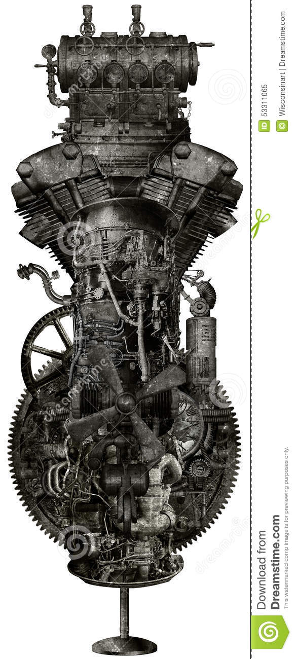 Hq Old Machinery Parts : Steampunk grunge industrial machine isolated stock
