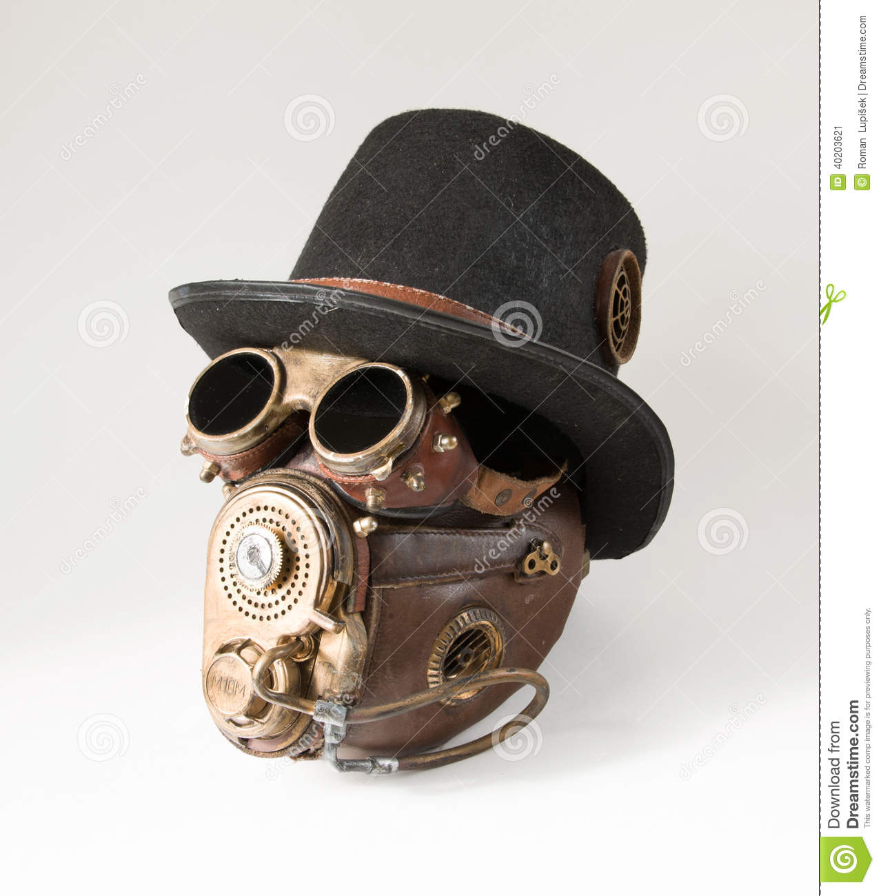 steampunk hat goggles and mask stock photo image 40203621