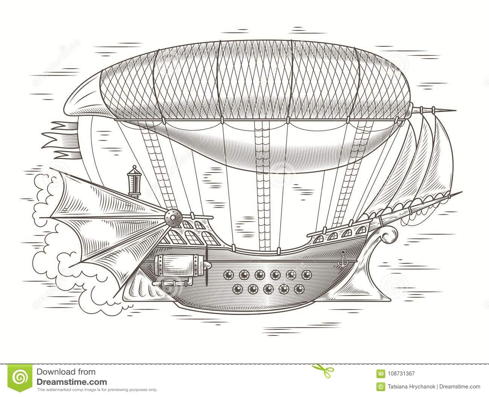 steampunk illustration of a fantastic wooden flyinprint template