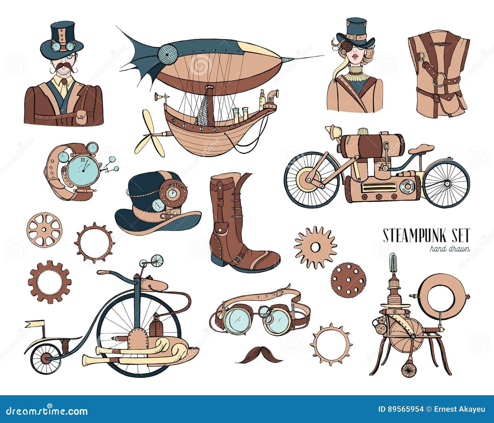 Steampunk Style Swordfish Coloring Book Vector Cartoon