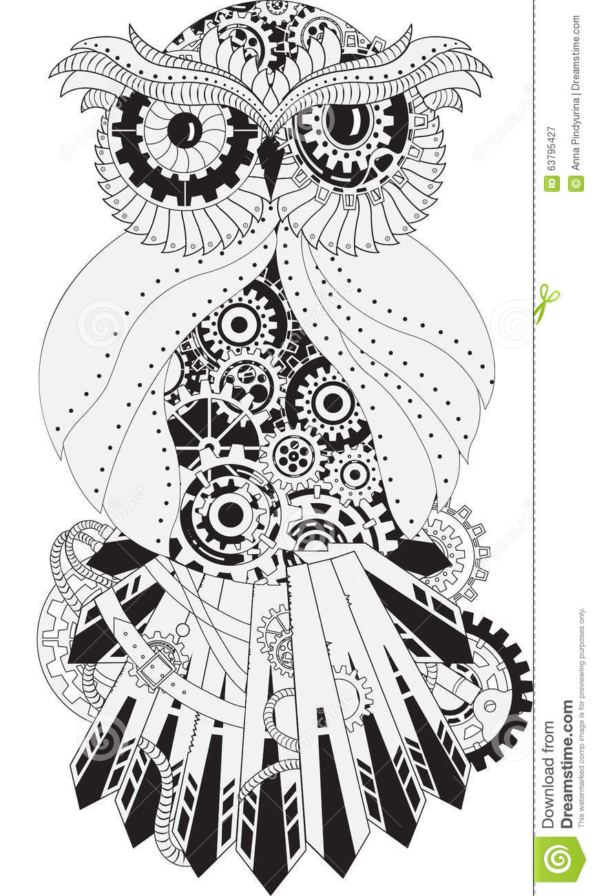 Steampunk Outline Vector Owl With Gear Metallic Stock