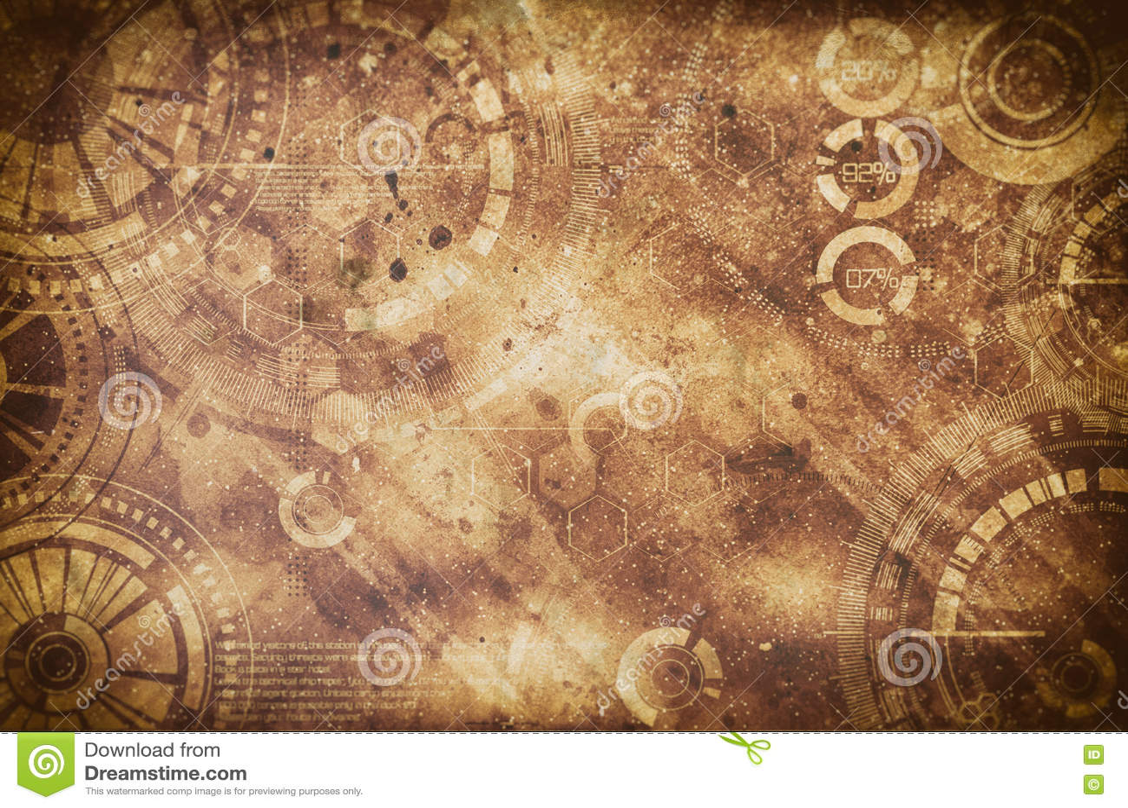 Steampunk-Schmutzhintergrund, Dampfpunkelemente auf schmutziger Rückseite