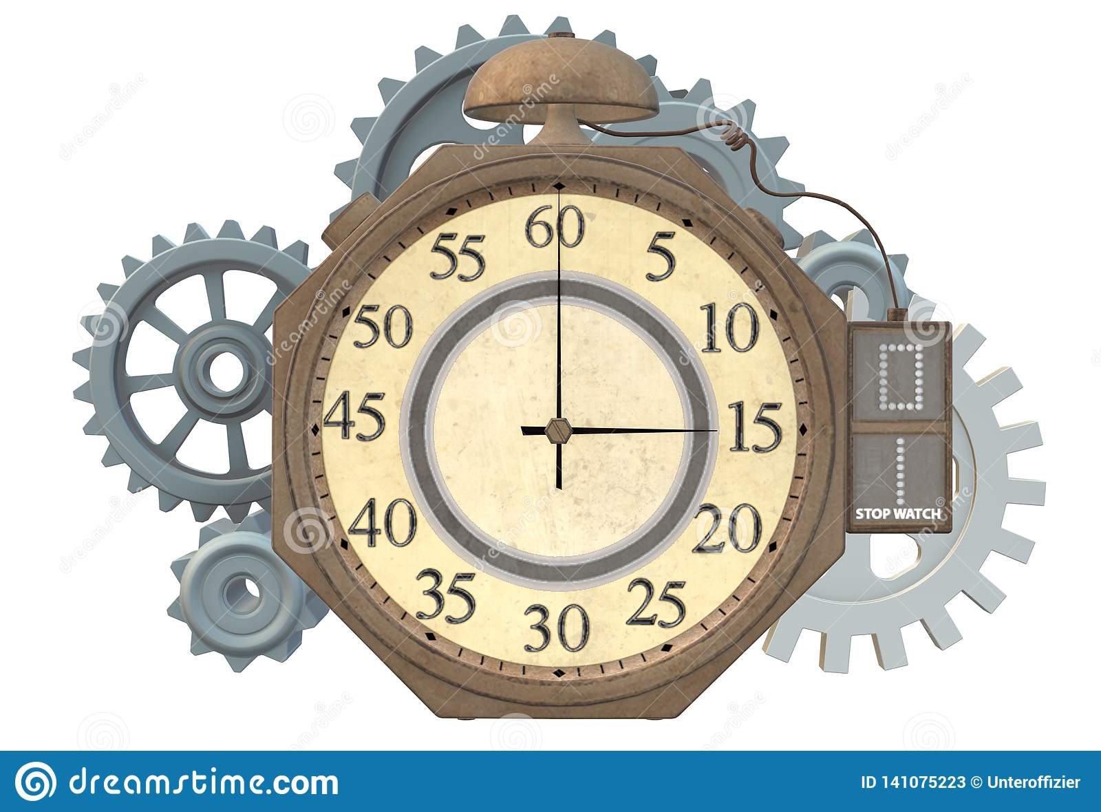A steampunk stopwatch clock with gear train at the back