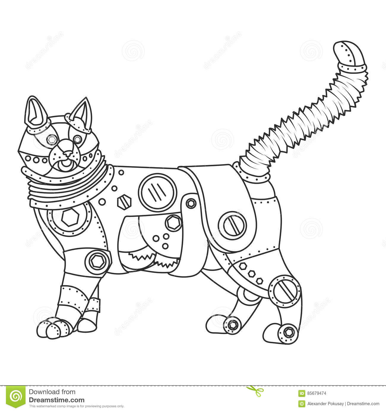 Steampunk Style Cat Coloring Book Vector Stock Vector Illustration