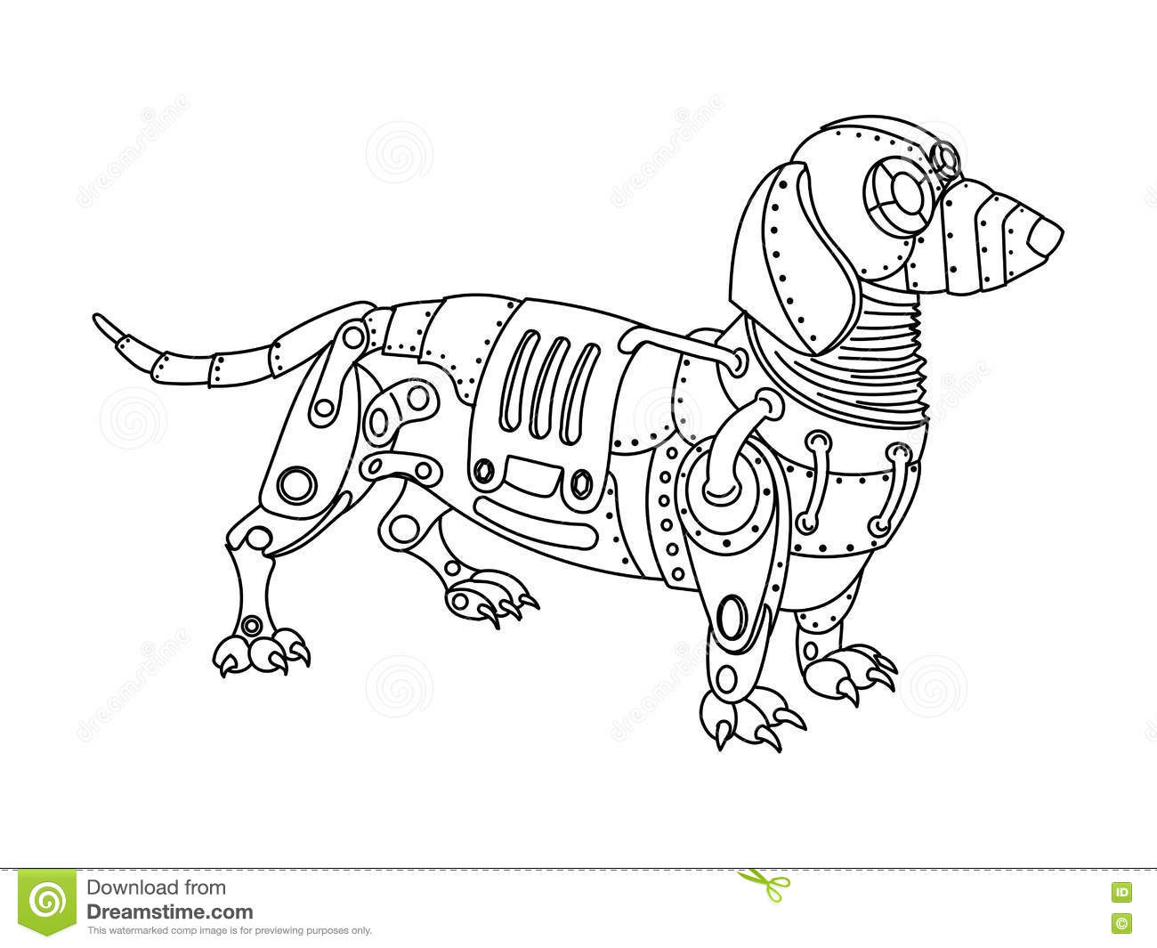 steampunk style dachshund dog coloring book vector mechanical animal adult illustration