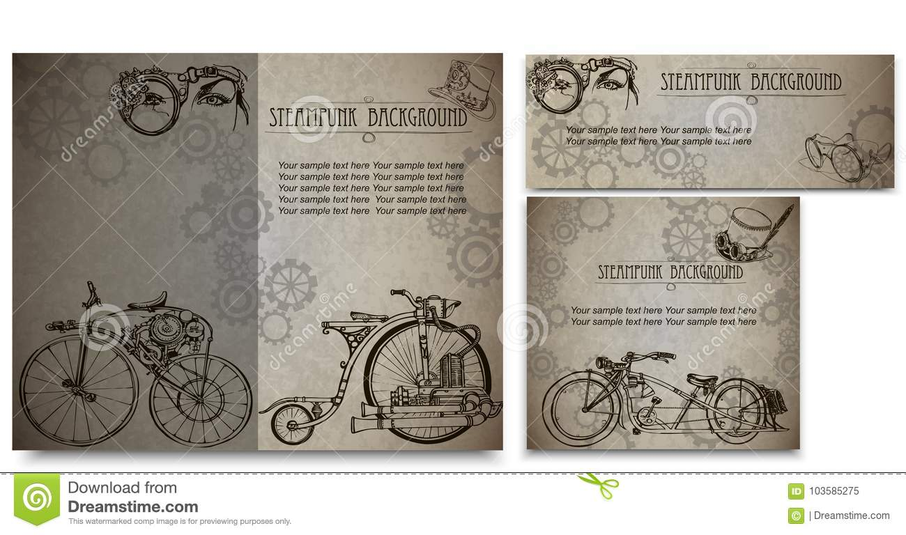 Steampunk Style Frame Steampunk Background Set Of Vintage Cards For