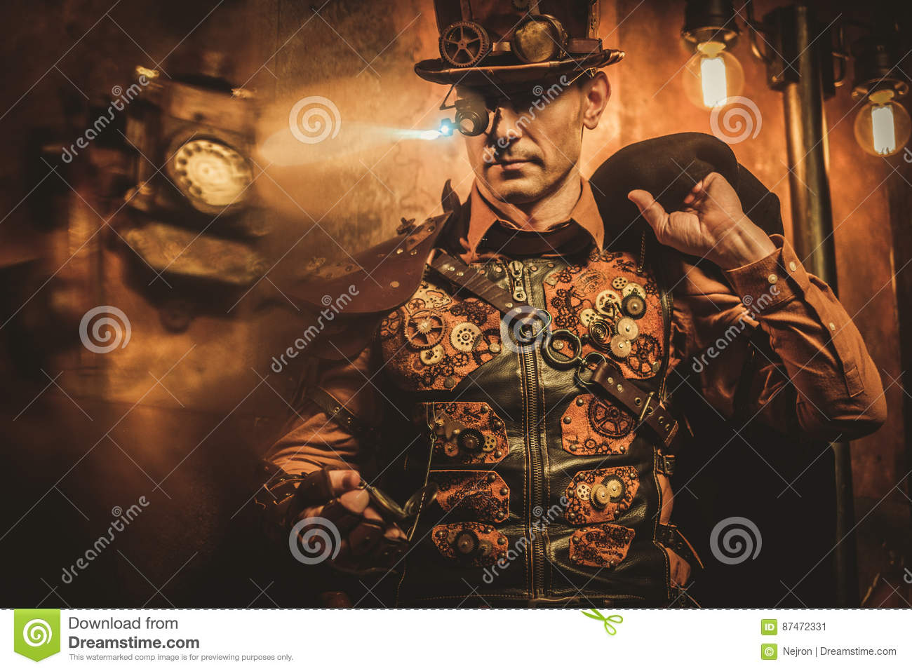 steampunk style man with various mechanical devices on vintage