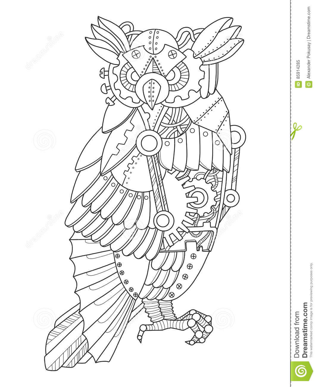 Royalty Free Vector Download Steampunk Style Owl Coloring Book