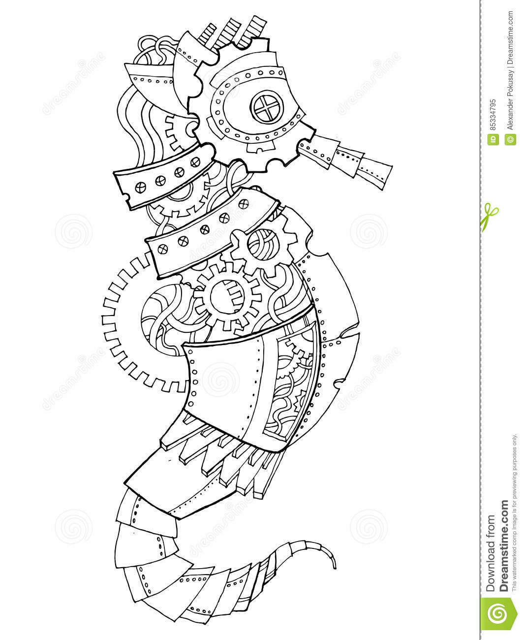 Steampunk Style Sea Horse Coloring Book Vector Royalty Free Download