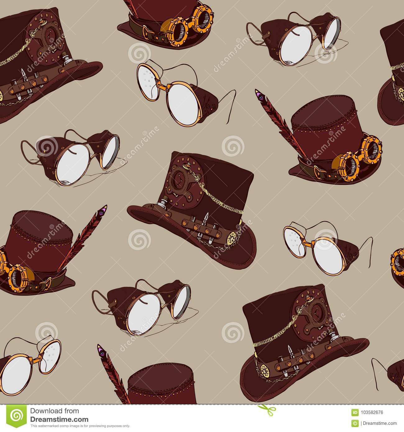 Seamless Pattern Steampunk With Steampunk Top Hat And Brass Goggles ... 29a059a76f3