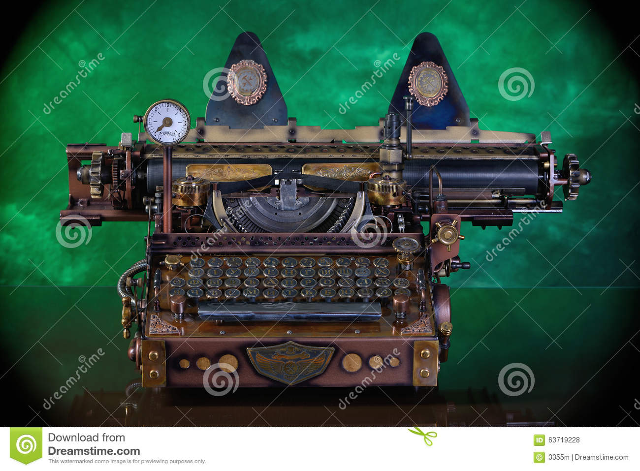 Steampunk Typewriter  stock photo  Image of office, number