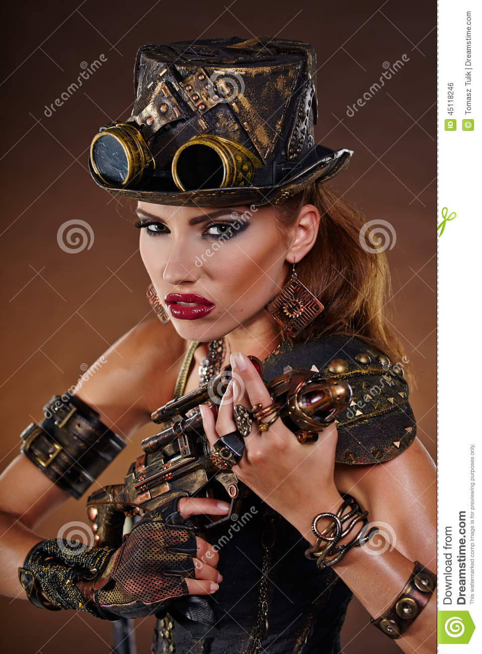 Steampunk woman. Fantasy fashion .