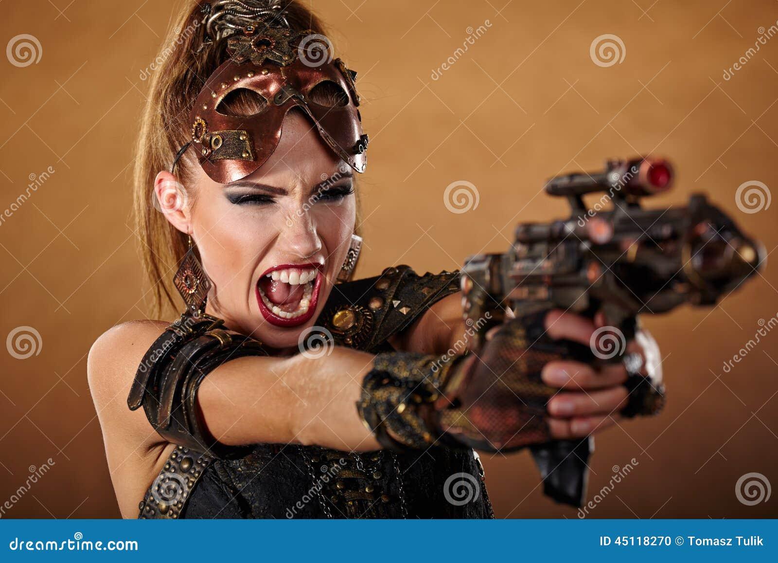 Steampunk woman. Fantasy fashion .