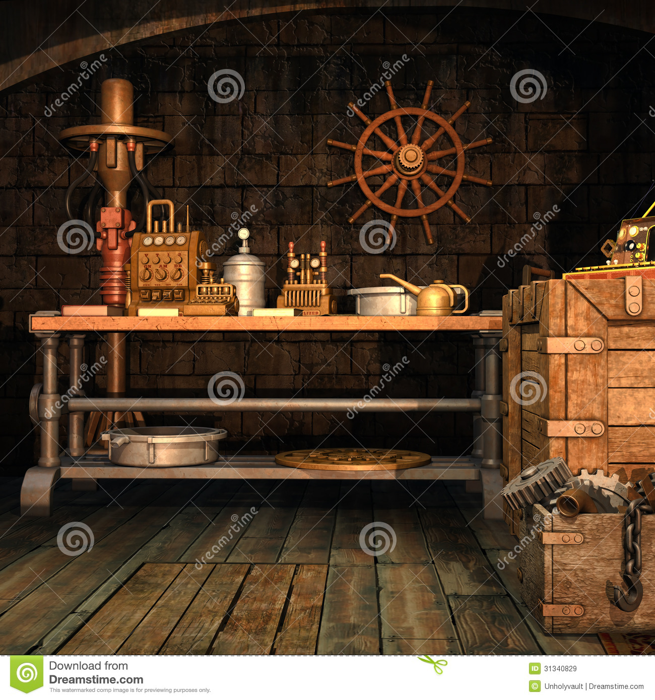 Steampunk Workshop With Tools Stock Illustration