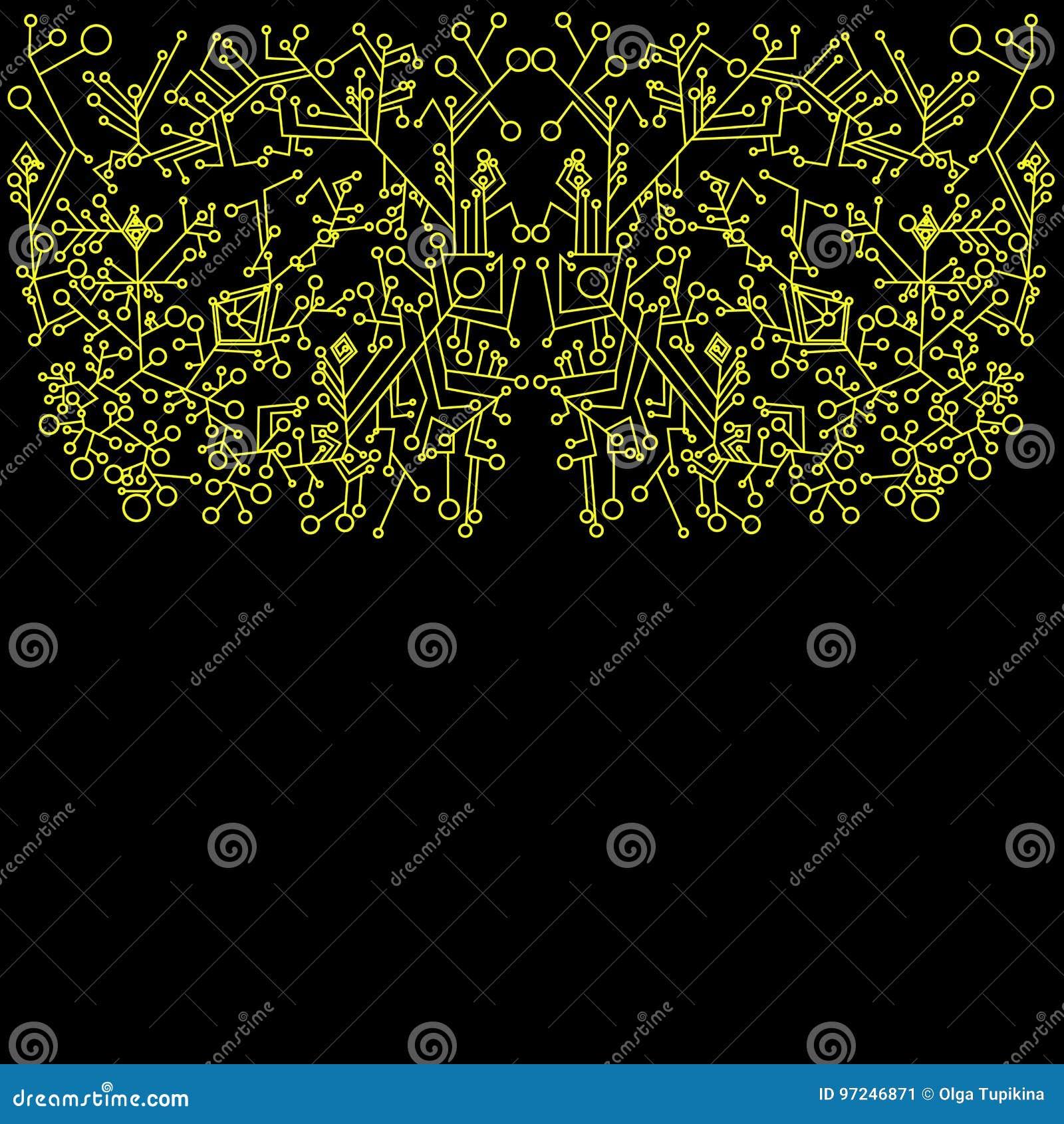 Steampunk Zusammenfassung Gelber Entwurf Fractalhintergrund Vektor