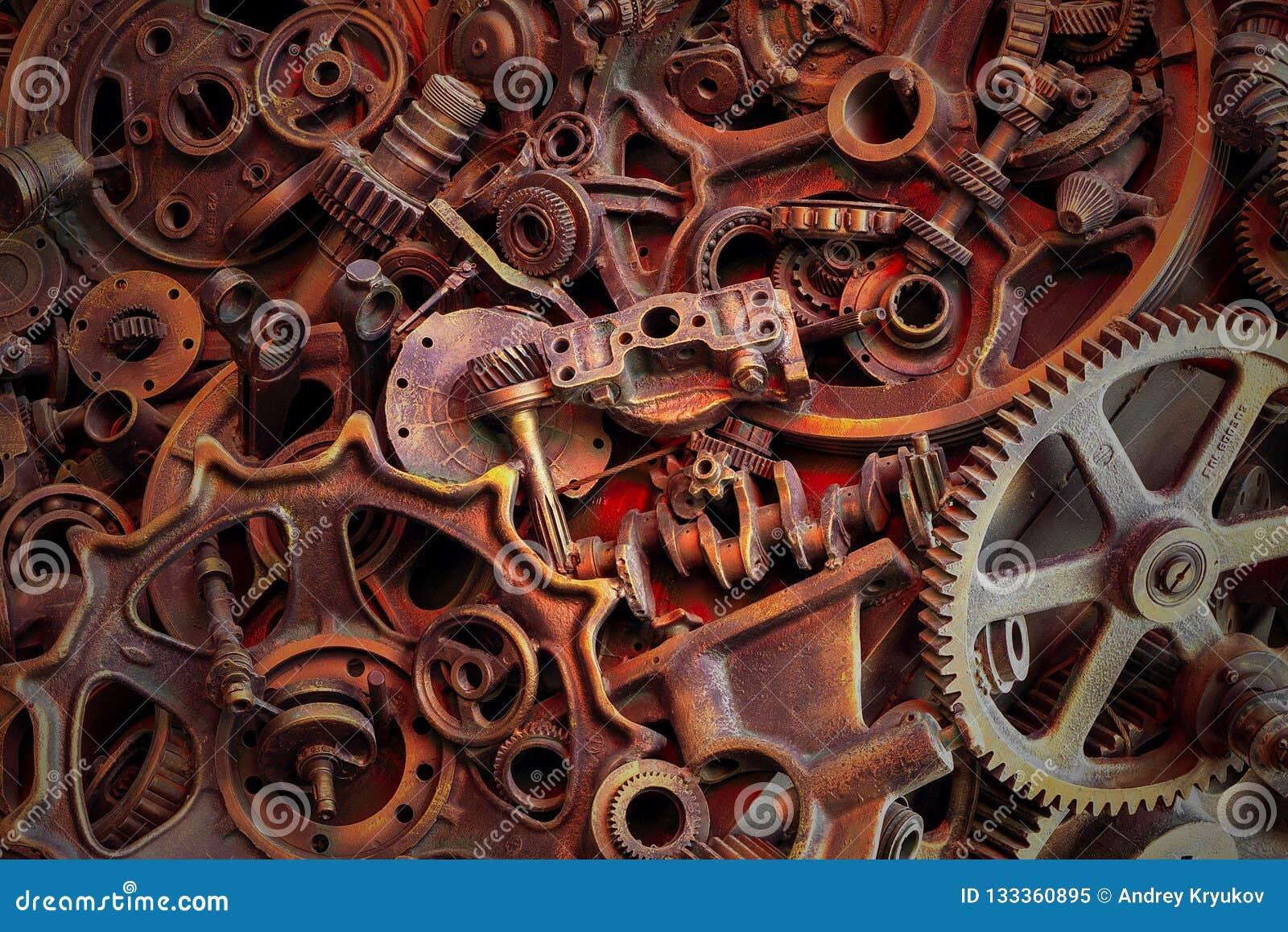 Steampunkachtergrond, machine en mechanische gedeelten, grote toestellen en kettingen van machines en tractoren