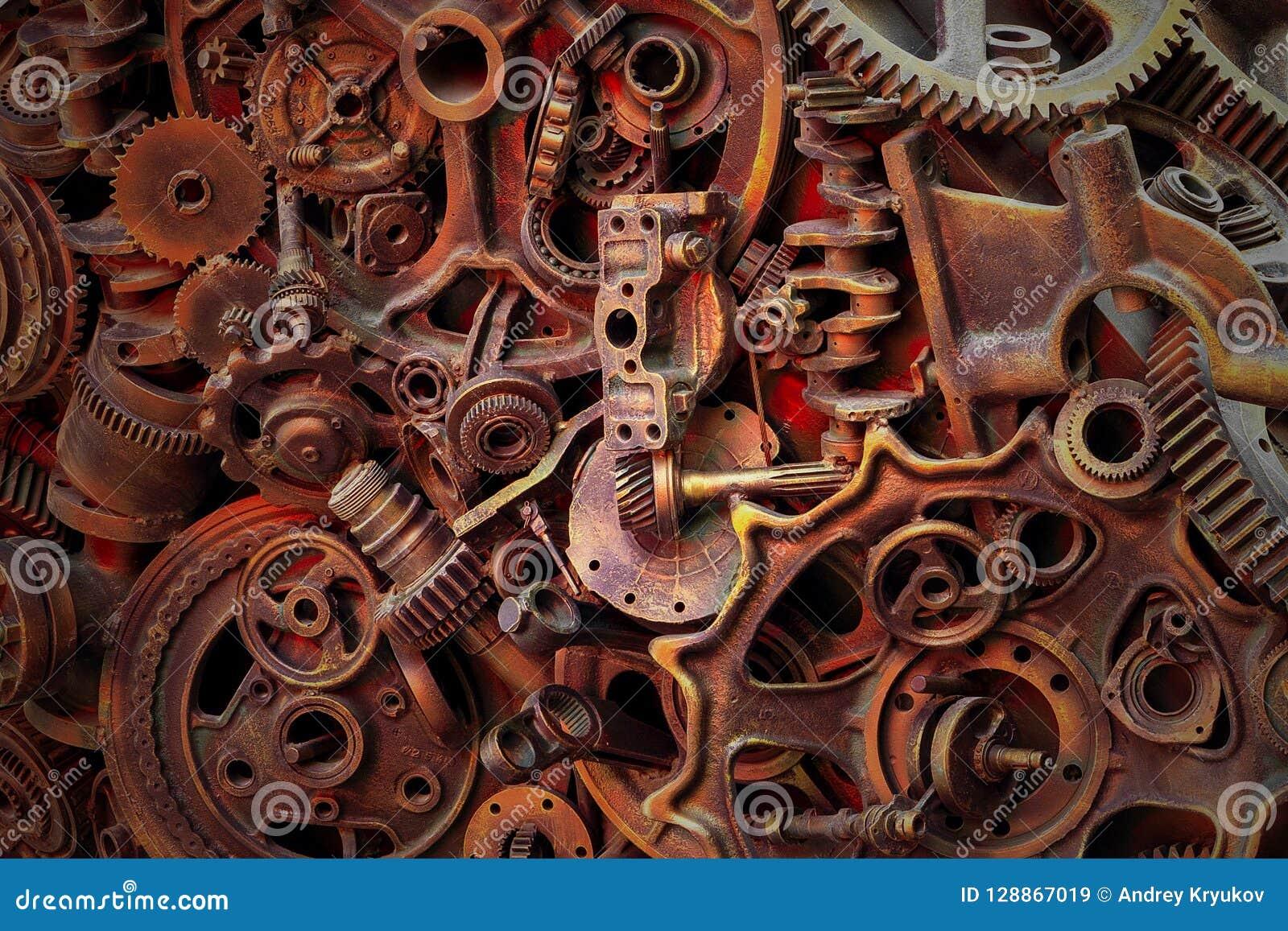 Steampunkachtergrond, machinedelen, grote toestellen en kettingen van machines en tractoren